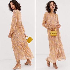 ASOS Vero Moda Floral Print Tiered Maxi Dress Sz L